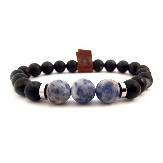 Afbeelding van Stone beads | Black onyx & blue sodalite