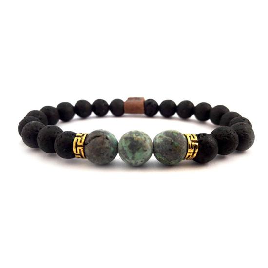 Bild von Stone beads | Lava stone & african green