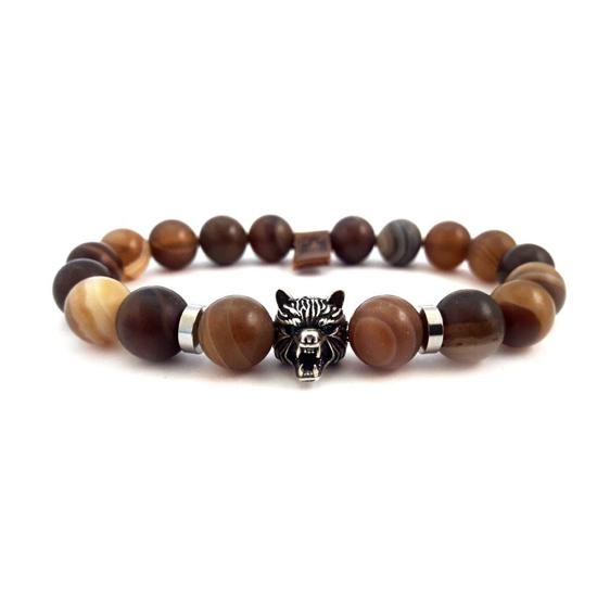 Afbeelding van Stone beads | Wolfshead 10mm Brown