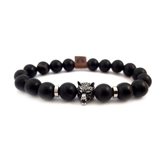 Afbeelding van Stone beads | Wolfshead 10mm Black onyx