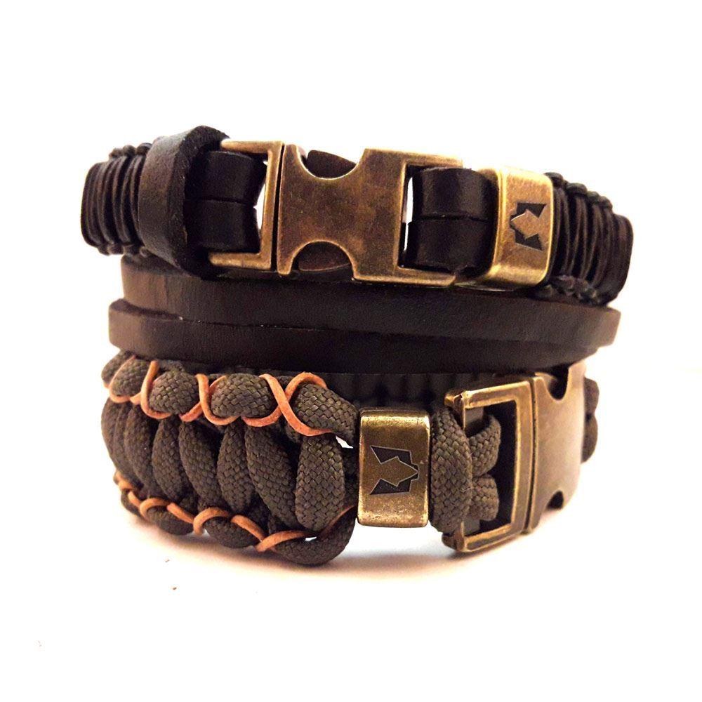 Afbeelding van Bracelet set   Wolfs belt black & stitch
