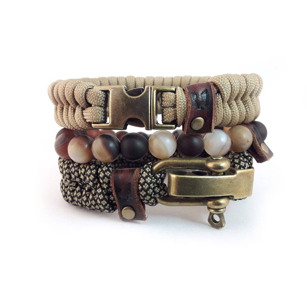 Bild von Bracelet set | RVS Urban leather