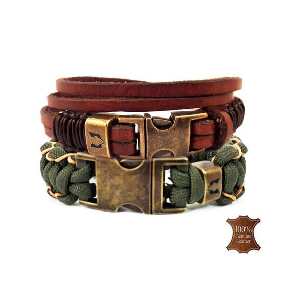 Bild von Bracelet set | Wolfs belt natural & stitch