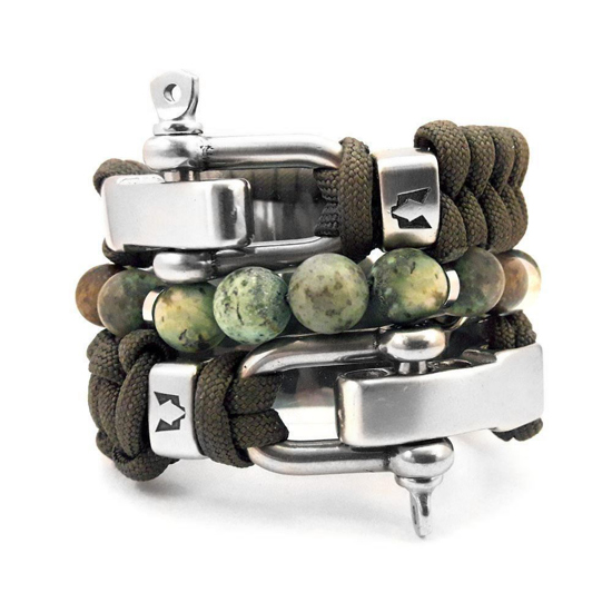 Afbeelding van Bracelet set | Olive & Rvs