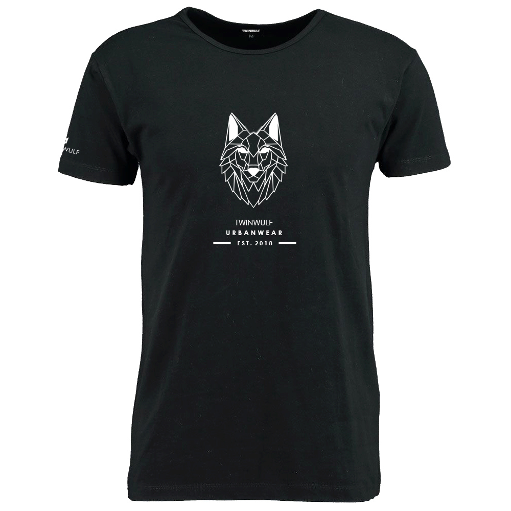 Afbeelding van Twinwulf men T-shirt Black | Wolfs head