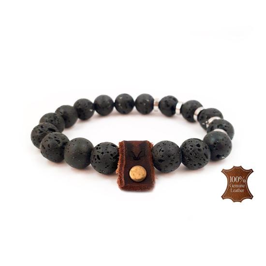 Afbeelding van Stone beads Ketting | 10mm Lava stone & Rvs rings (55cm halsomvang)