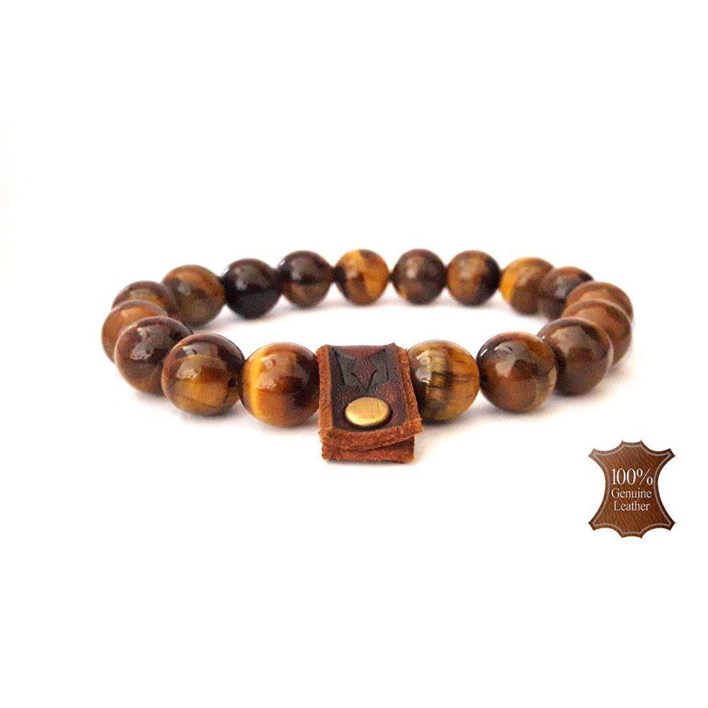 Afbeelding van Bracelet set | Wolfs eye Raw leather-cognac